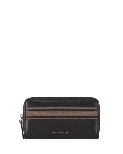 Leather Zip Continental Wallet