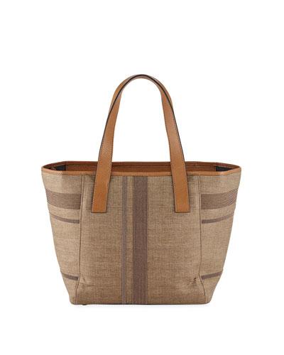 Monili-Stripe Leather Shoulder Tote Bag