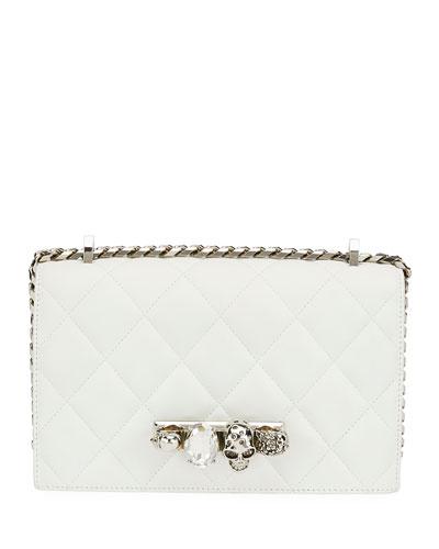 Jeweled Knuckle Flap Shoulder Bag