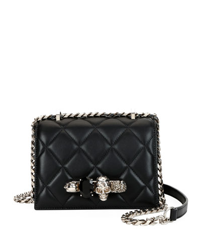 Small Quilted Jewelled Knuckle Flap Shoulder Bag