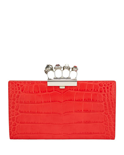 Jeweled Knuckle Four-Ring Croc Clutch Bag - Silvertone Hardware