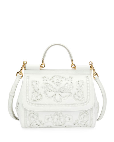 Miss Sicily Lambskin Lace Satchel Bag