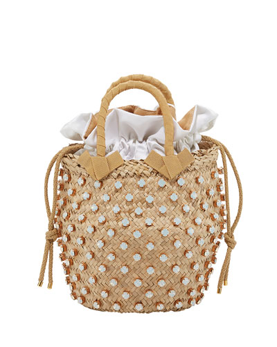 Nina Small Opal-Crystal Studded Bucket Bag