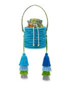 Maison Alma Monochrome Woven Straw Bucket Bag with