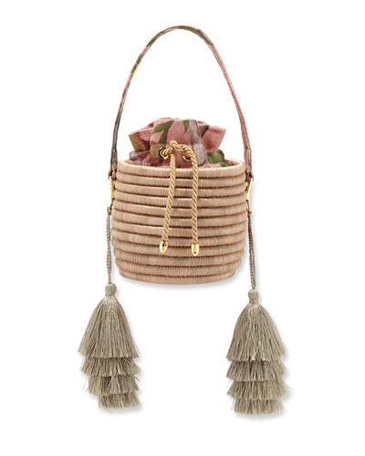 Monochrome Woven Straw Bucket Bag with Metallic Tassels