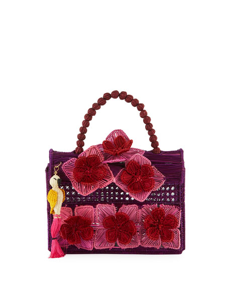 Mercedes Salazar Threaded Fabric Top-Handle Bag