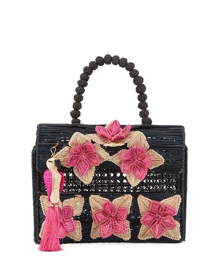 Mercedes Salazar Iraca Palm Threaded Fabric Top-Handle Bag