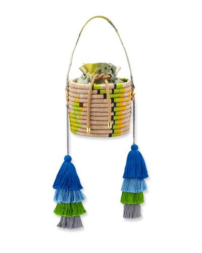 Colorblock Straw Bucket Bag