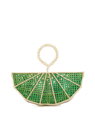Raffia Lime Wedge Clutch Bag