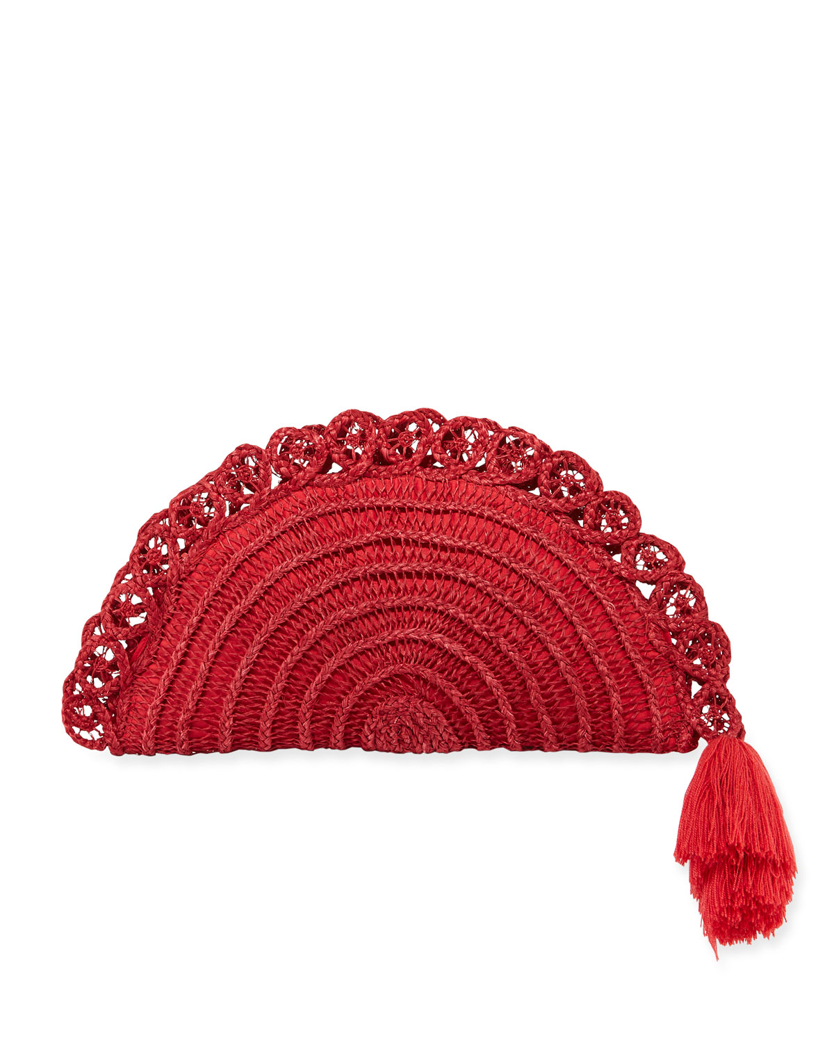 NANNACAY - COTIO Lua Straw Clutch Bag With Tassel in Red