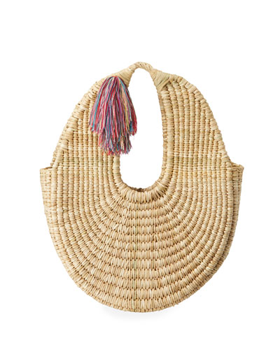 Betina Straw Hobo Bag with Tassel