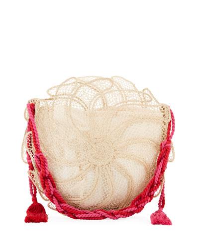 Catarina Round Straw Beach Tote Bag