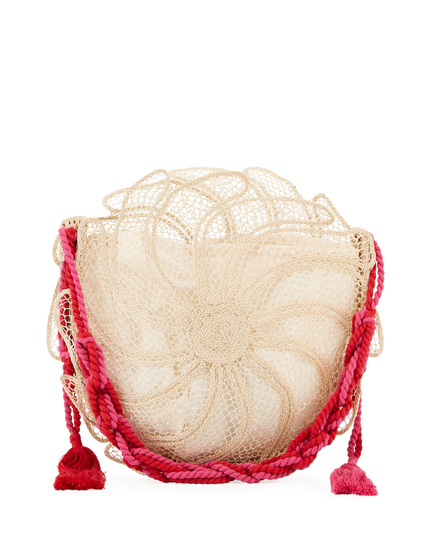 NANNACAY - COTIO Catarina Round Straw Beach Tote Bag in Off White