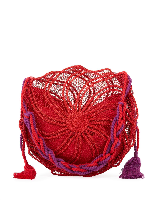 NANNACAY - COTIO Sila Round Straw Beach Tote Bag in Red