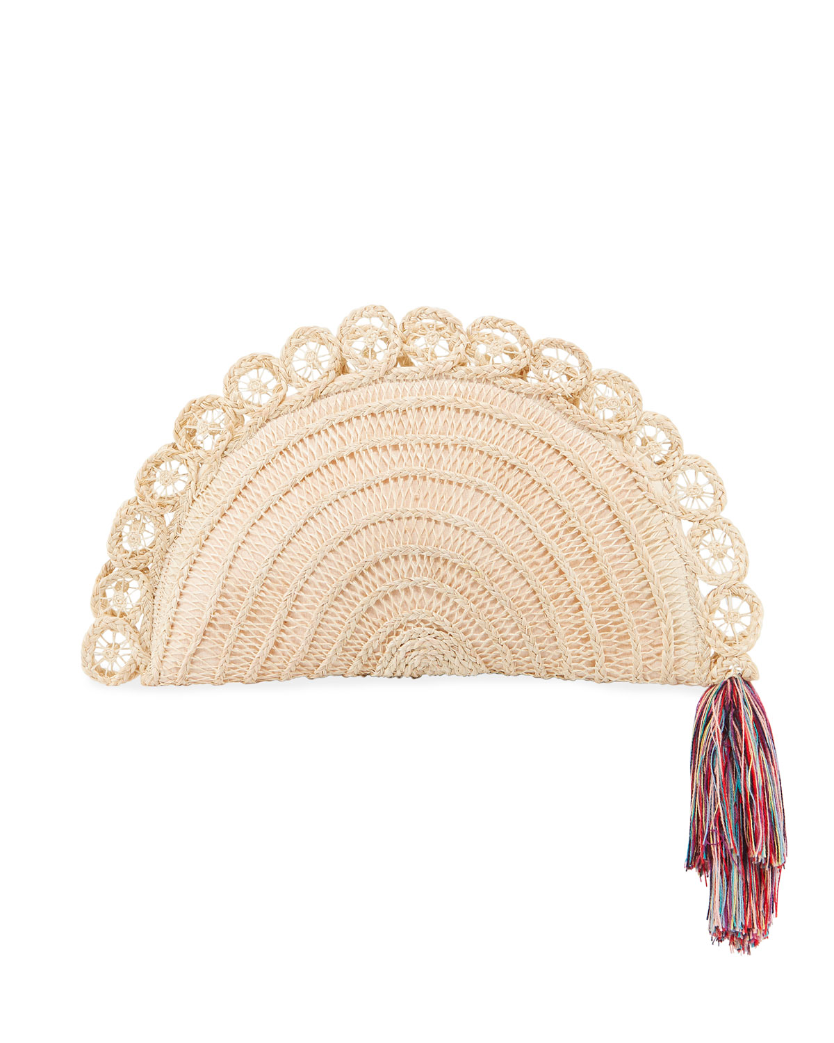 NANNACAY - COTIO Lua Straw Clutch Bag With Rainbow Tassel in Off White