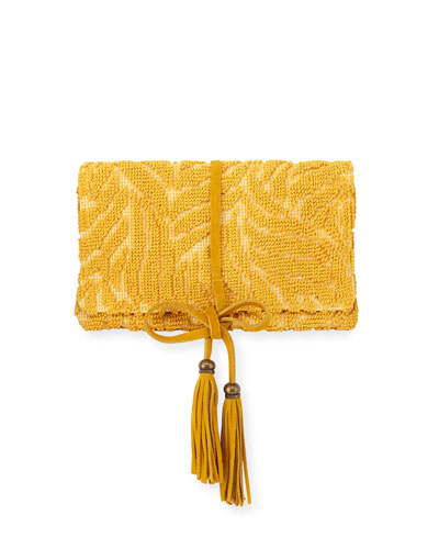 Barbara Tassel Fabric Clutch Bag, Yellow