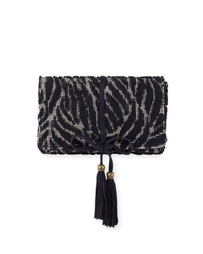 Barbara Tassel Fabric Clutch Bag, Navy