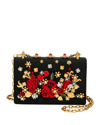 Roses Brocade and Leather Shoulder Bag