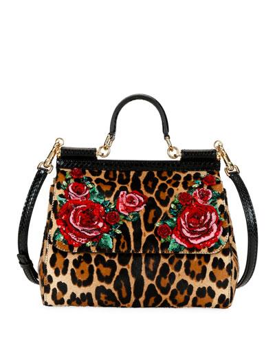 Sicily Medium Leopard-Print Shoulder Bag