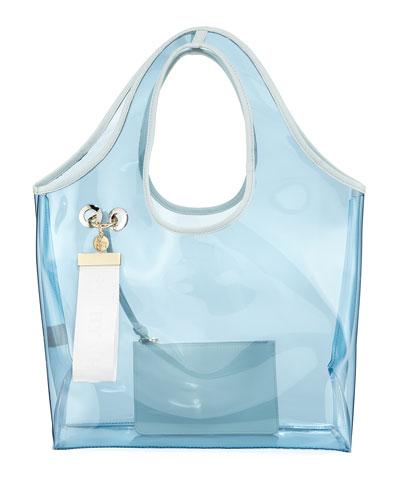 Jay Transparent Tote Bag, Light Blue