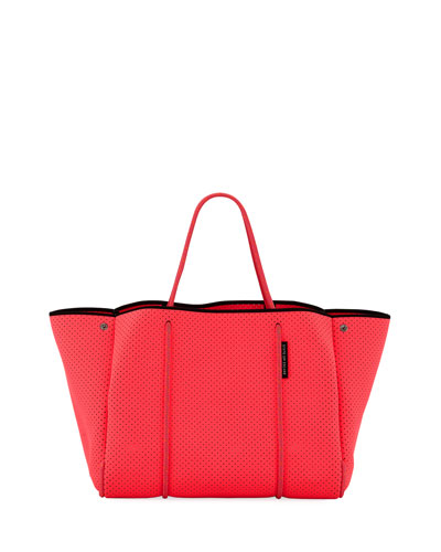 Escape Perforated Neoprene Tote Bag, Bright Pink
