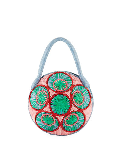 Saba Straw Circle Top Handle Bag