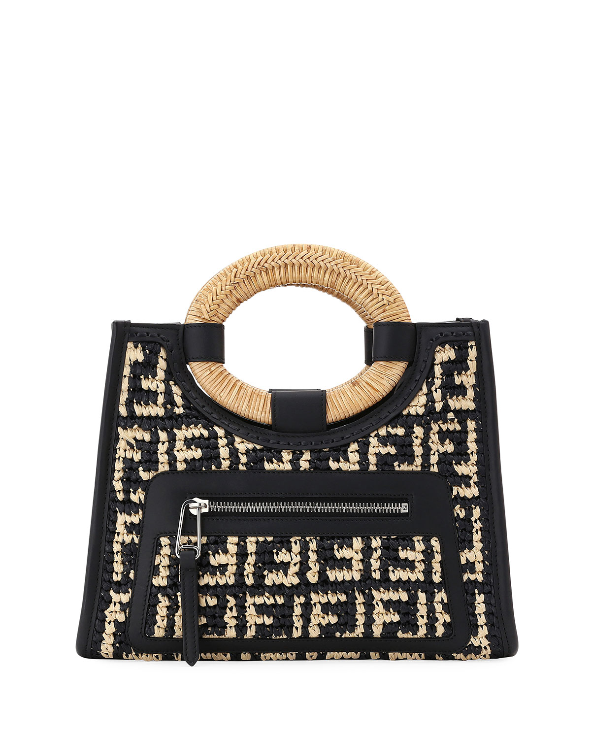 Runaway Small Ff Raffia Shop Tote Bag in Black Pattern