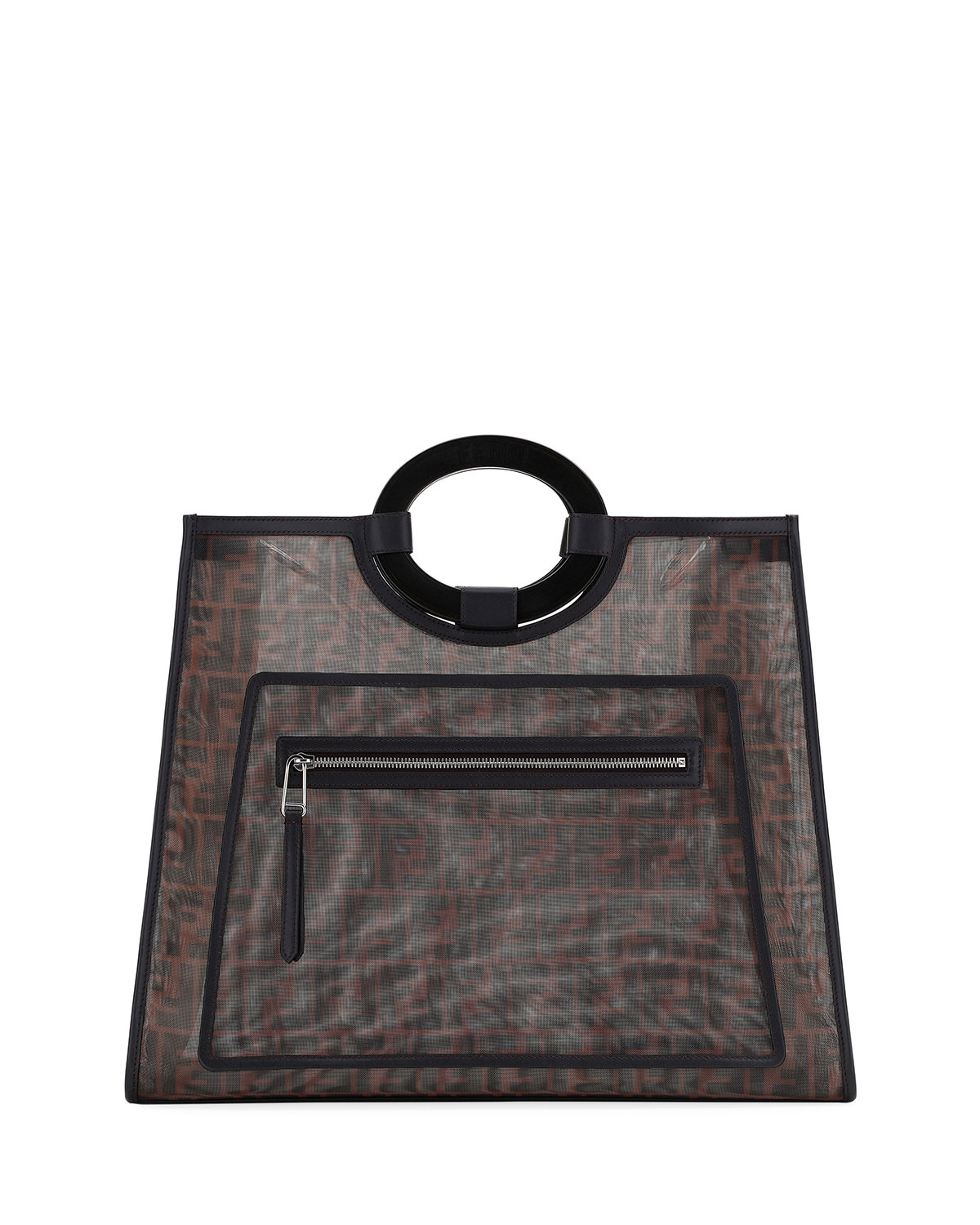 Runaway Large Ff Mesh Shopping Tote Bag in Brown/Black