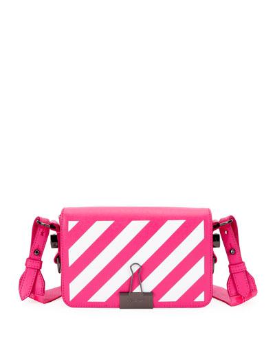 Diagonal Stripe Mini Flap Clutch Bag with Binder Clip