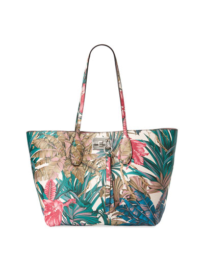 Joanne Botanical Leather Tote Bag