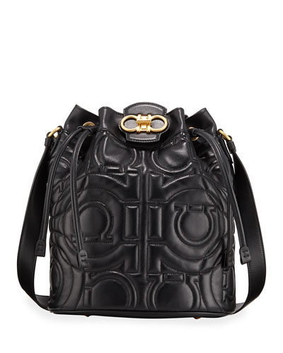 Gancio Quilted Leather Bucket Bag