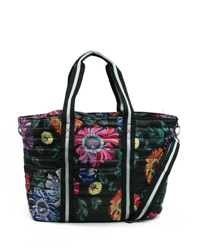 Quick Look Think Royln Wingman Fl Print Quilted Tote Bag Available In Black Pattern