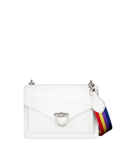 Jean Medium Leather Shoulder Bag with Rainbow Strap