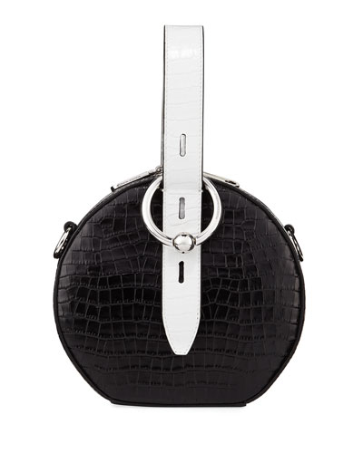 Kate Circular Embossed Top-Handle Bag