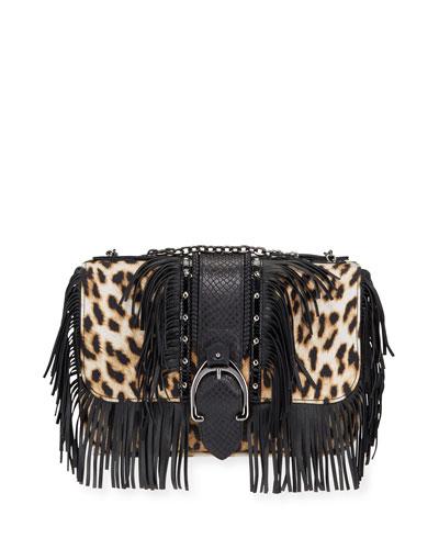 Amazone Fringed Leopard Crossbody Bag
