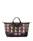 Longchamp Le Pliage XL Python-Print Satchel Bag