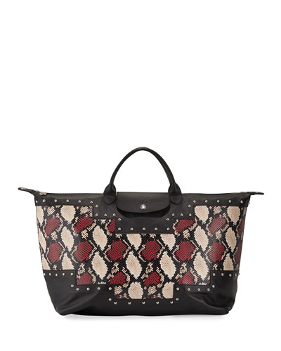 Le Pliage XL Python-Print Satchel Bag