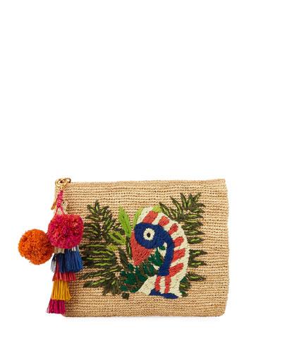 Tropical Bird Medium Raffia Clutch Bag