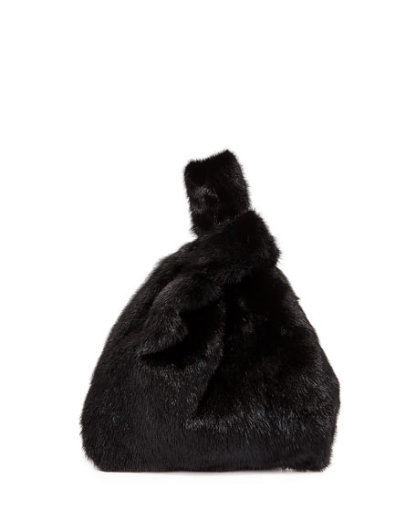 Simonetta Ravizza Furrissima Mink Fur Shopper Tote Bag, Black