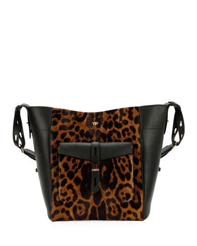 Leopard Calf Hair Medium Hobo Bag