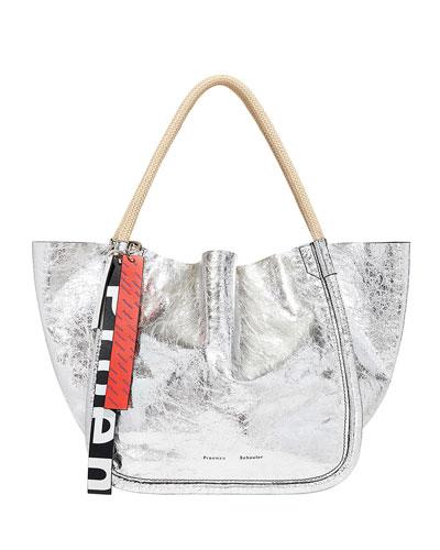 Metallic Leather Large Tote Bag