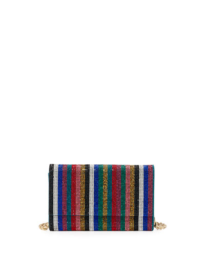 Fizzoni Candy Stripe Crystal Clutch Bag