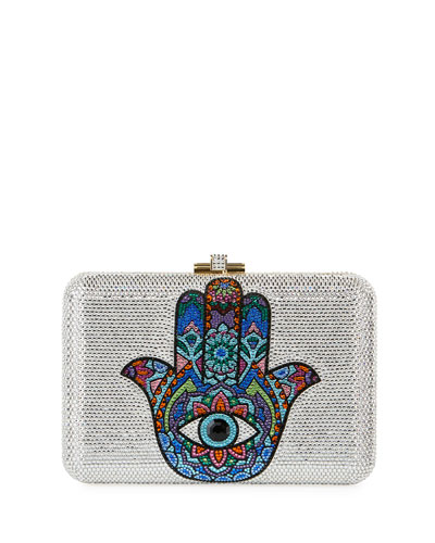 Slim Slide Hamsa Crystal Clutch Bag