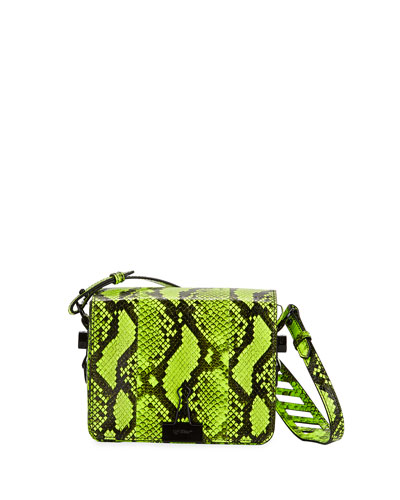 Snake-Embossed Fluorescent Shoulder Bag