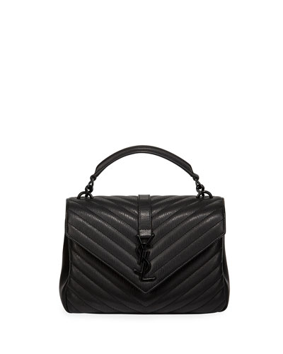 College Medium Monogram YSL V-Flap Crossbody Bag - Black Hardware