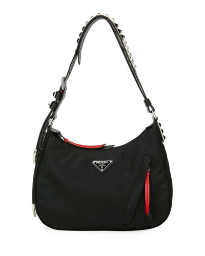 Prada Black Nylon Shoulder Bag w/ Studding
