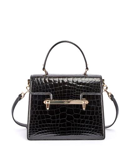 Uptown Crocodile Top-Handle Bag