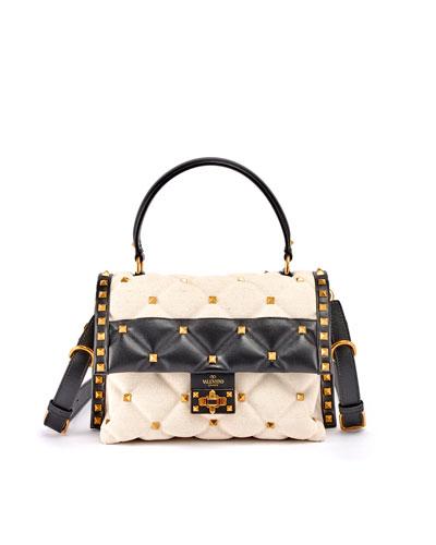 CandyStud Bicolor Canvas & Leather Top-Handle Bag