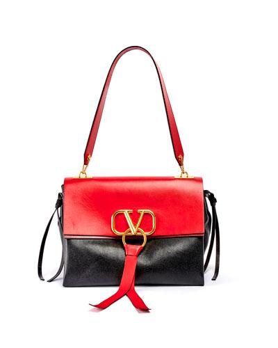 VRING Medium Colorblock Leather Shoulder Bag