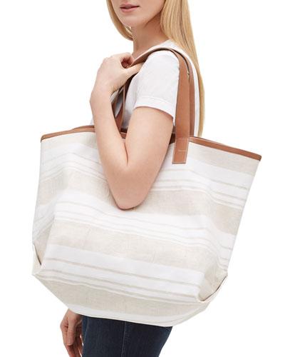 Gesso Striped Travel Tote Bag